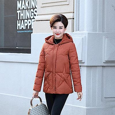 星紋羽絨棉外套-XL~5XL(共四色)-理子時尚