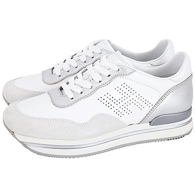 HOGAN H222 穿孔皮革拼接厚底繫帶休閒鞋(銀白)