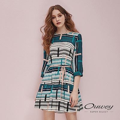 OUWEY歐薇 松石綠配色幾何印花洋裝(藍)