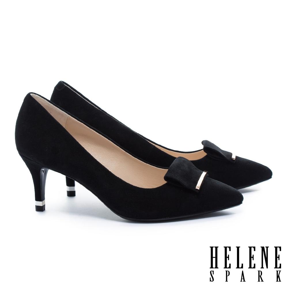 高跟鞋 HELENE SPARK 金屬風反折帶釦羊麂皮尖頭高跟鞋-黑