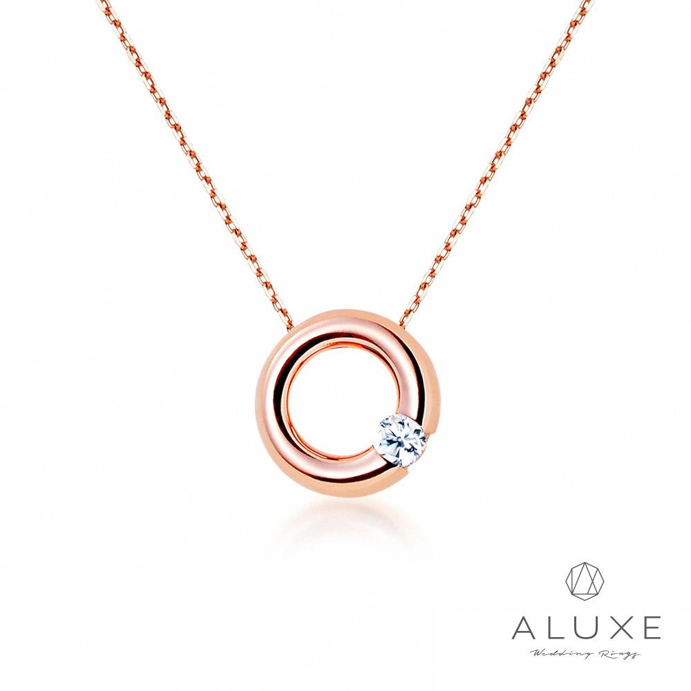 ALUXE亞立詩 Petite系列 Classic甜甜圈 玫瑰金美鑽項鍊
