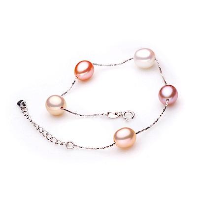 Hera 赫拉 925純銀天然多彩珍珠手鍊