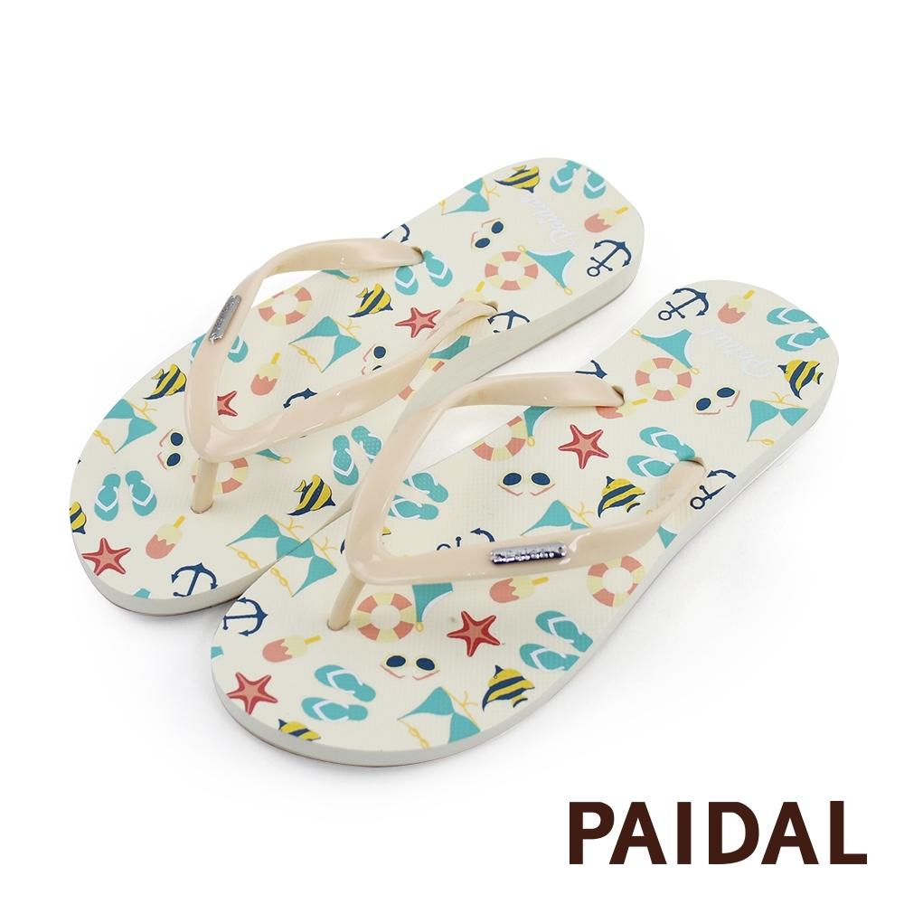 Paidal 繽紛海灘季夾腳涼拖鞋-鵝黃米