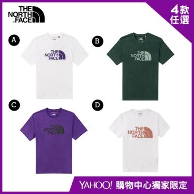 【The North Face】YAHOO獨家限定-北面男女款經典LOGO上衣-4款任選