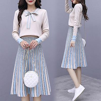 DABI 韓系時尚拼接針織衫條紋裙顯瘦套裝長袖裙裝