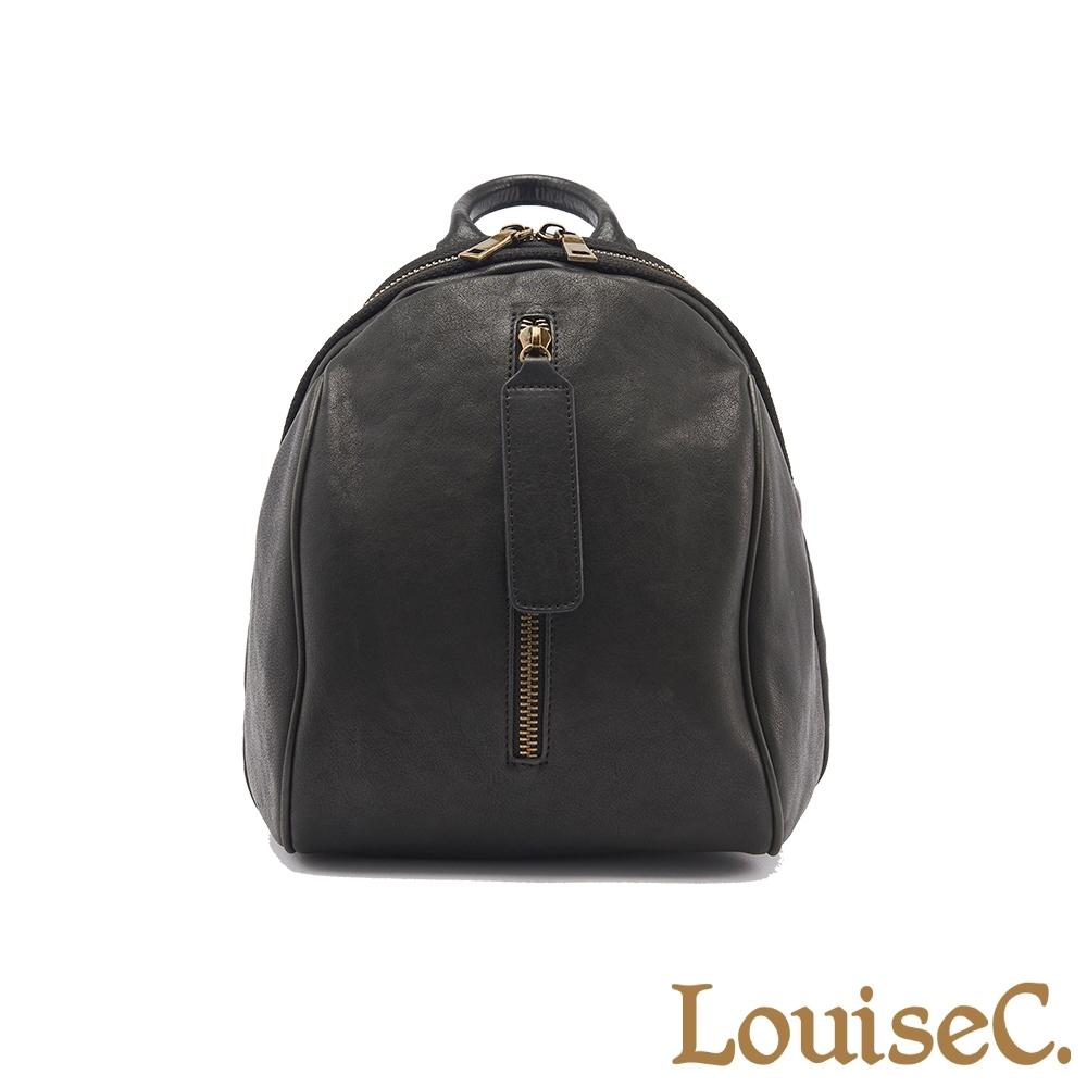 【LouiseC.】植鞣革牛皮造型大拉鍊後背包-黑色 (WI91109-05)