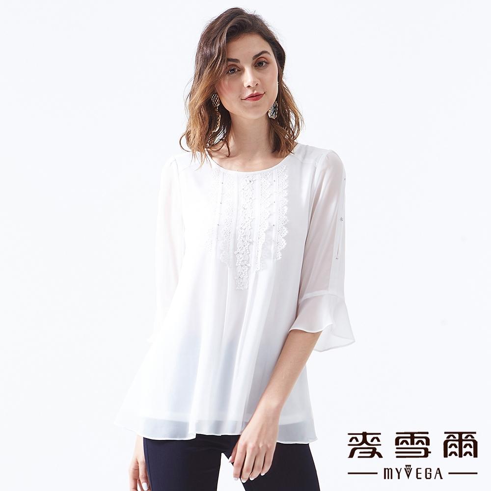 【麥雪爾】夢幻氣質白色雕花雪紡上衣