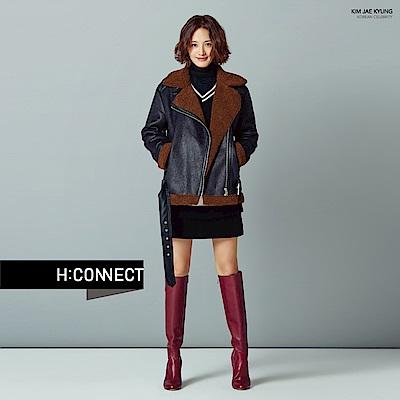 H:CONNECT 韓國品牌 女裝-翻領造型仿皮外套-黑[情人節送禮推薦]