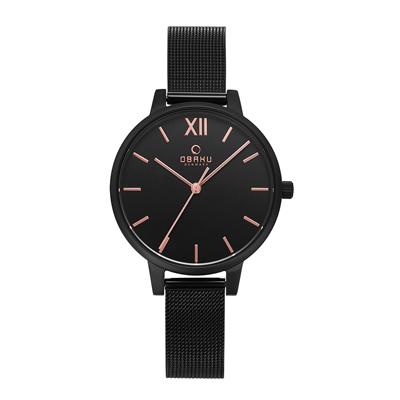 OBAKU 現代兼具經典羅馬數字女性腕錶-黑(V209LXBBMB)/34mm