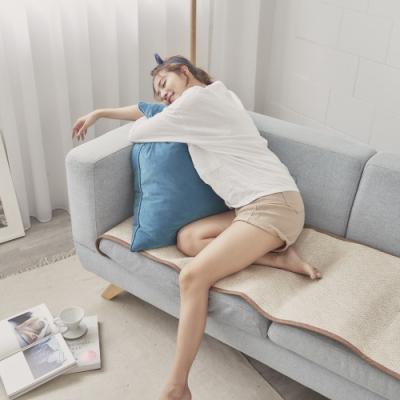 BUHO 3D立體日式天然藤蓆二人坐墊(55x110cm)