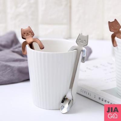 JIAGO 304不鏽鋼杯緣貓咪手柄湯匙