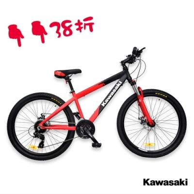Kawasaki 26吋24速SHIMANO雙碟煞鋁合金避震登山車/紅色