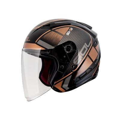 【SOL】SO-7E 幻影 黑/銅 3/4罩(安全帽│加長型鏡片│內藏墨鏡)