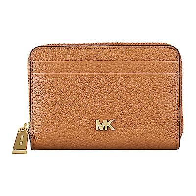 MK MICHAEL KORS MERCER金字LOGO牛皮拉鍊卡片零錢包(橡子棕)
