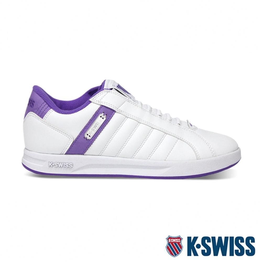 [零碼出清]K-SWISS Lundahl Slip-On S 鞋套式運動鞋-女-白/紫