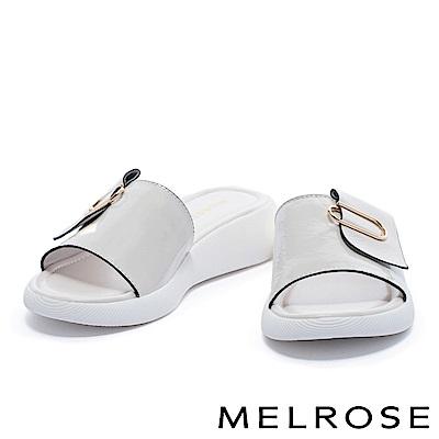 拖鞋 MELROSE 簡約舒適質感迴紋造型飾釦厚底休閒拖鞋-米