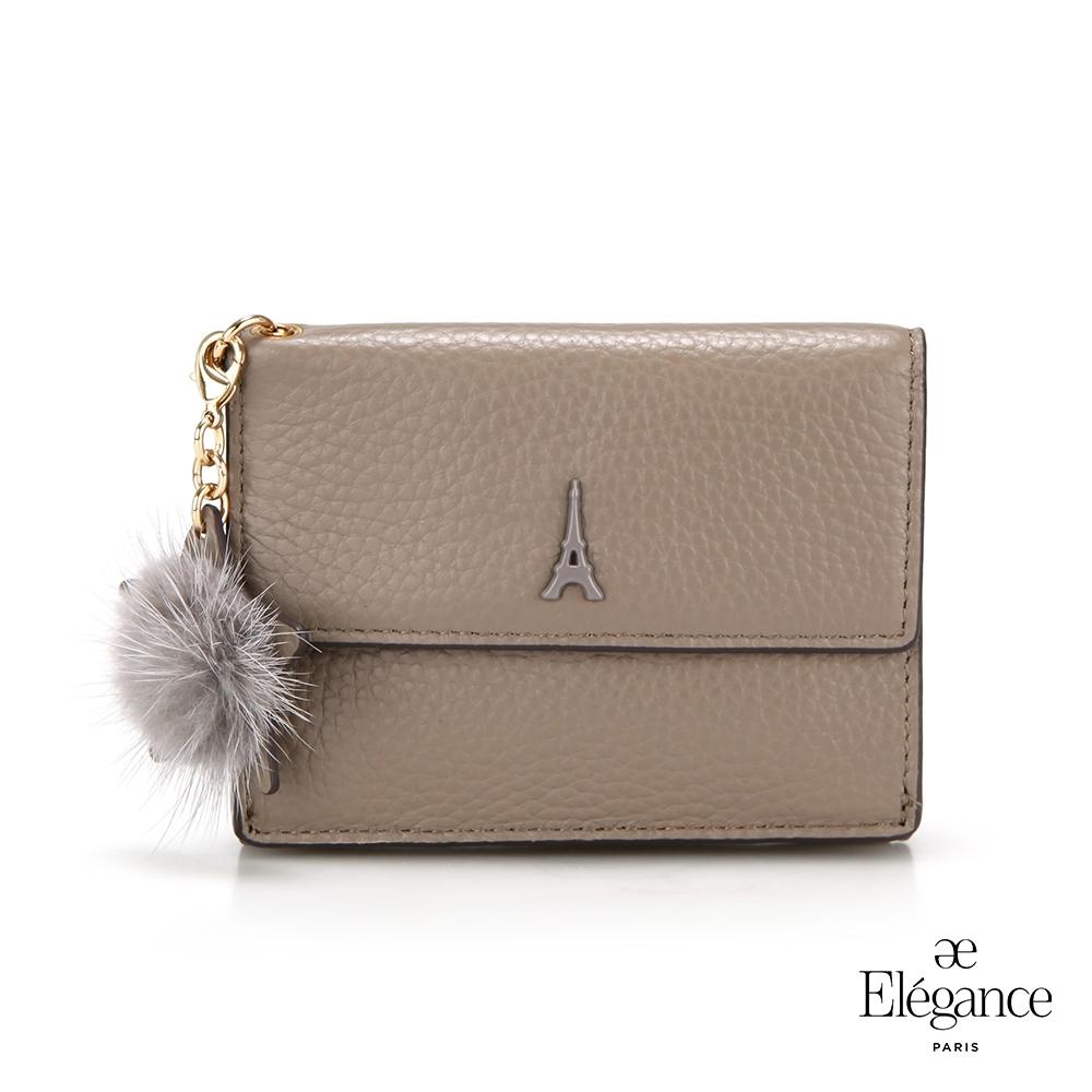 【Elegance】LIVELY 荔枝紋對折短夾-灰色