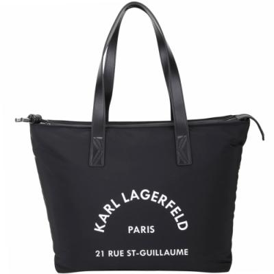 KARL LAGERFELD Rue St Guillaume 住址系列尼龍手提/肩背托特包(黑色)