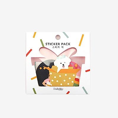 Dailylike 可愛動物貼紙包12入-03 派對