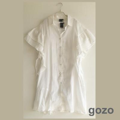 gozo 粉彩筆記波浪垂袖二件式洋裝(白色)
