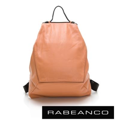 RABEANCO 時尚系列牛皮菱形後背包 粉橘