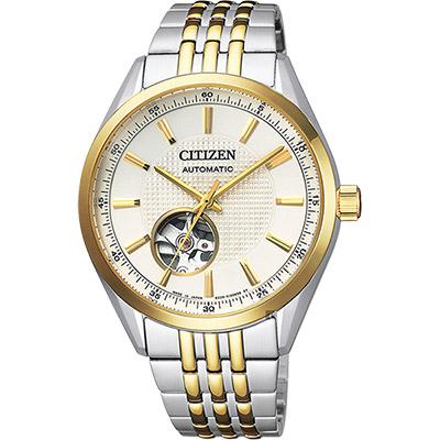 CITIZEN 星辰 小鏤空機械錶-雙色版/40mm