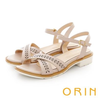 ORIN 牛皮交叉造型簍空低跟涼鞋 裸色