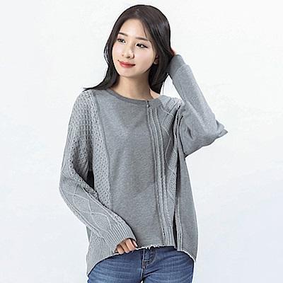 Victoria 異材質拼接設計長袖寬鬆線衫-女-深麻灰