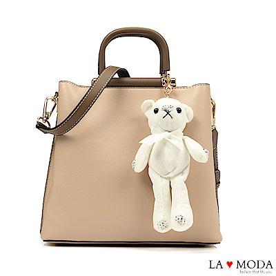 La Moda 注目度極高~小熊水鑽公仔娃娃配飾大容量肩背手提方包(杏)
