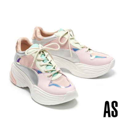 休閒鞋 AS 潮感幻彩膠片異材質拼接波紋老爹休閒鞋-粉