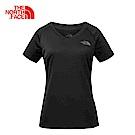The North Face北面女款黑色吸濕排汗戶外運動短T恤 3GEKJK3