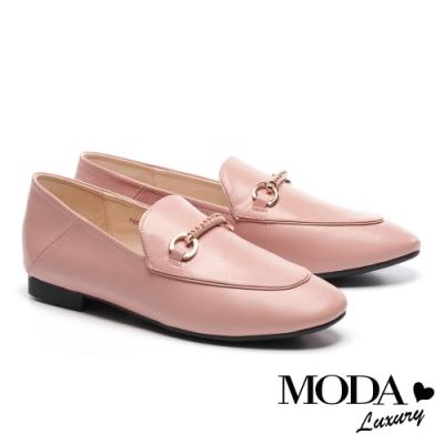 低跟鞋 MODA Luxury 經典時尚鉚釘條帶飾釦全真皮樂福低跟鞋-粉