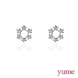 YUME - K金小太陽花晶鑽耳環