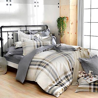 義大利La Belle 特大純棉防蹣抗菌吸濕排汗兩用被床包組-異想空間