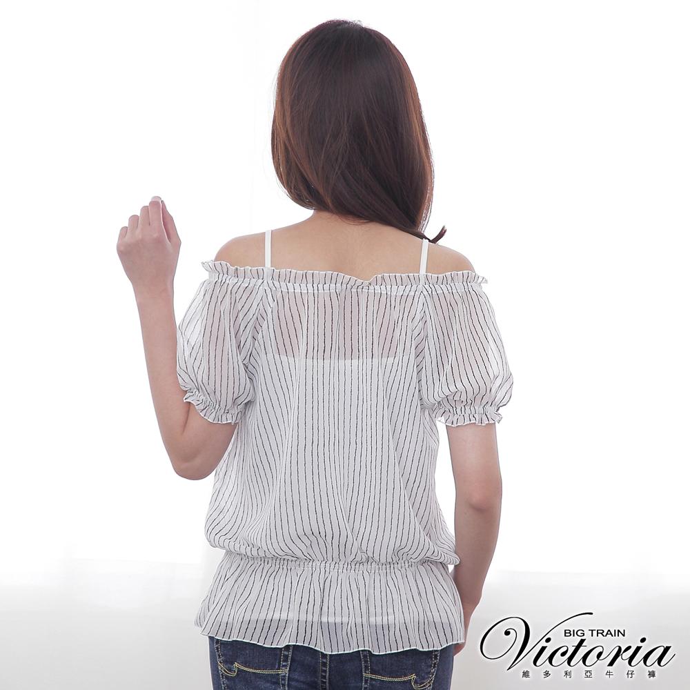 Victoria 抽皺直條雪紡短袖T-女-白底黑條