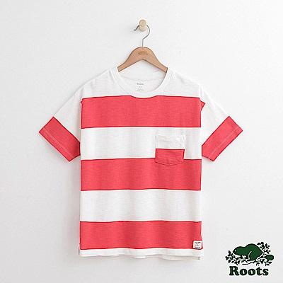 女裝Roots 口袋條紋短袖T恤-紅