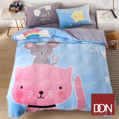 DON夥伴貓 單人四件式法蘭絨被套床包組