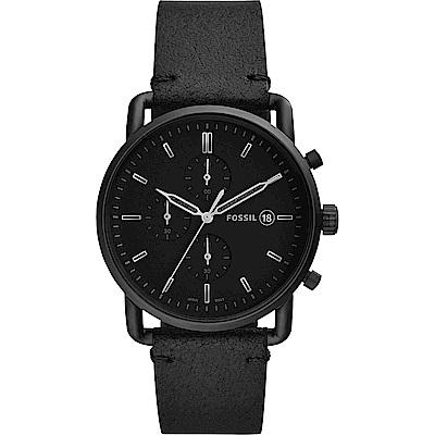 FOSSIL 潮流動感時尚酷黑計時錶-黑/42mm