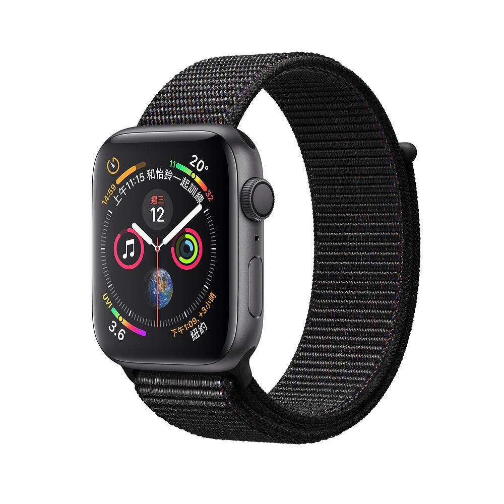 AppleWatch S4 GPS 44mm太空灰色鋁金屬錶殼搭配黑色運動型錶環