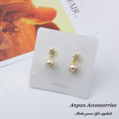 【Anpan 愛扮】韓東大門網紅同款雪花鑽釘珍珠金線925銀針耳釘式耳環