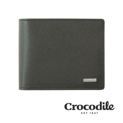 Crocodile 鱷魚皮件 真皮短夾 Wind系列 9卡 1窗格 零錢包 拉鍊零錢袋 男夾 0103-5905-黑咖兩色
