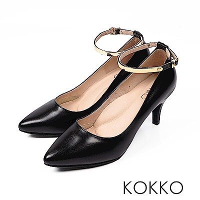 KOKKO - 幸福時光2way尖頭金屬繞踝高跟鞋 - 亮皮黑