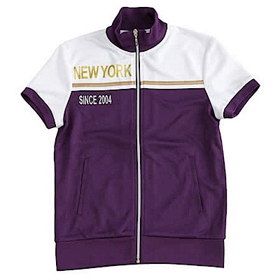 【TOP GIRL】雙色拼接針織立領短袖外套-深情紫