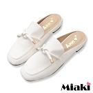 Miaki-穆勒鞋純色綁結方頭平底鞋-白