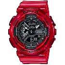 BABY-G海洋生態設計風格透明果凍色系雙顯運動錶(BA-110CR-4)紅/43.4mm