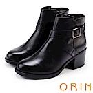ORIN 個性帥氣 交叉皮帶牛皮工程踝靴-黑色