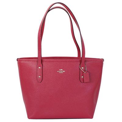 COACH莓紅色防刮皮革銀字飾牌手提/肩背小方包
