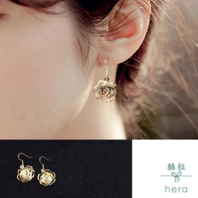 HERA 赫拉 短款線條玫瑰鋯石耳環-耳針款