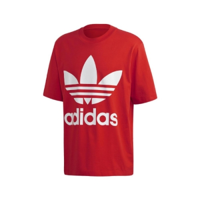 adidas T恤 Oversize Trefoil Tee 男款 愛迪達 三葉草 寬鬆 運動休閒 穿搭 紅 白 FM3796