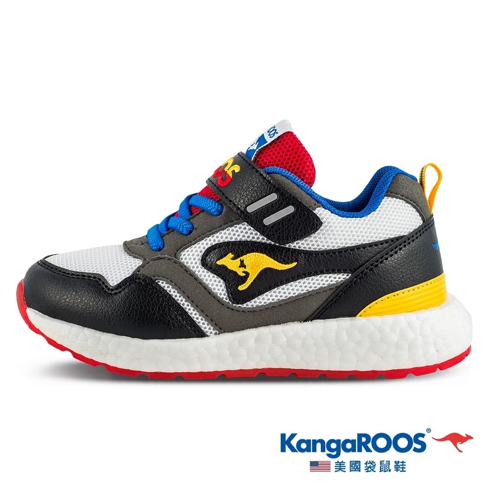 KangaROOS 美國袋鼠鞋 童鞋 RACER EVO 科技運動機能跑鞋/休閒鞋/運動鞋/兒童鞋(黑白灰-KK11318)